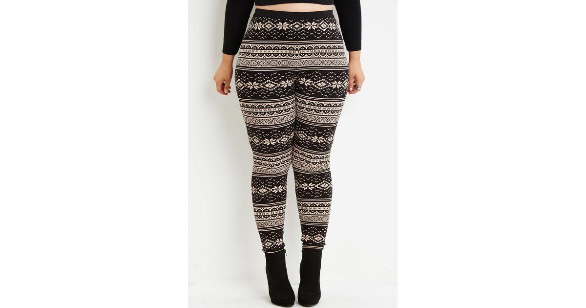 Forever 21 Fair Isle-patterned Leggings in Black | Lyst