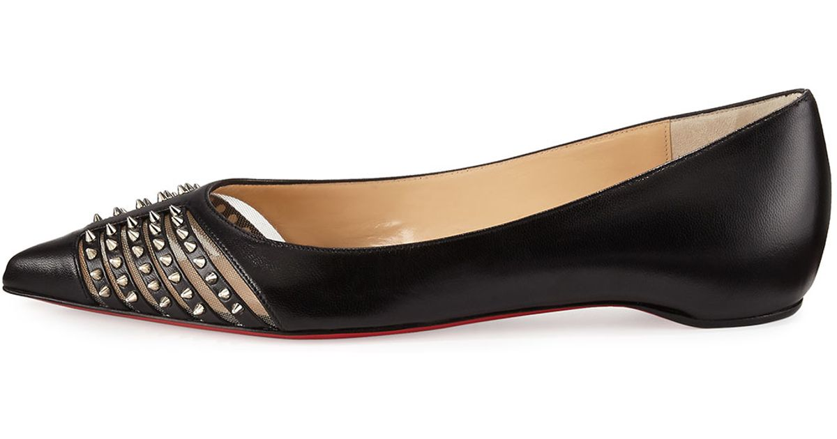 men red bottom shoes - Christian louboutin Baretta Studded Red Sole Skimmer Flat in Black ...