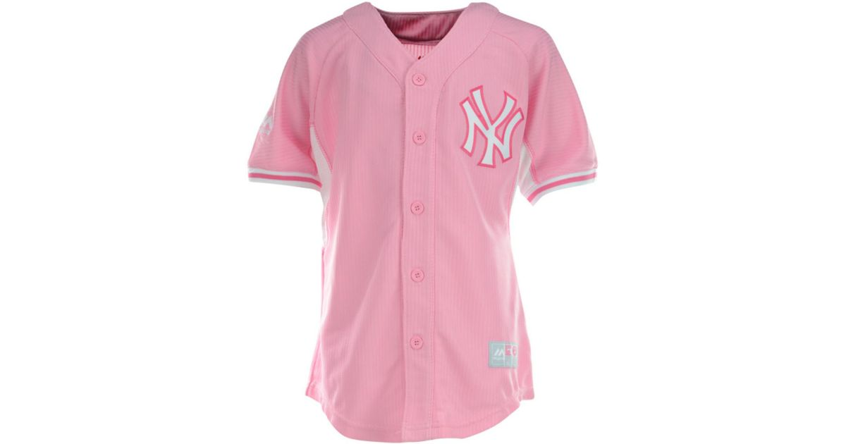 87f05583764 ... reduced lyst majestic girls new york yankees jersey in pink a3380 d97e1