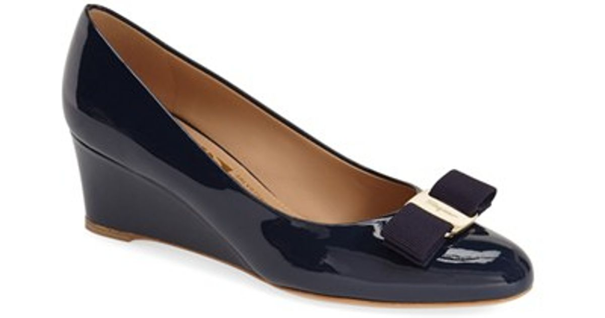 59e31580bf44 Ferragamo Mirabel Patent-Leather Pumps in Blue