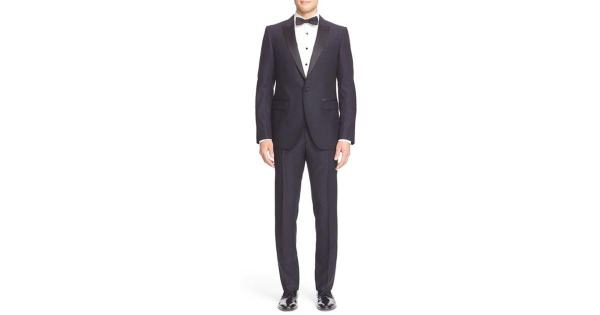 Lanvin 39 attitude 39 extra slim fit navy tuxedo in blue for for Extra slim tuxedo shirt