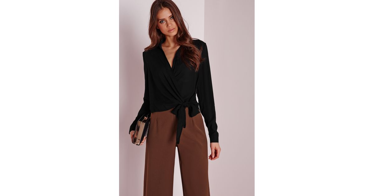 Missguided Wrap Over Tie Side Blouse Black In Black Lyst