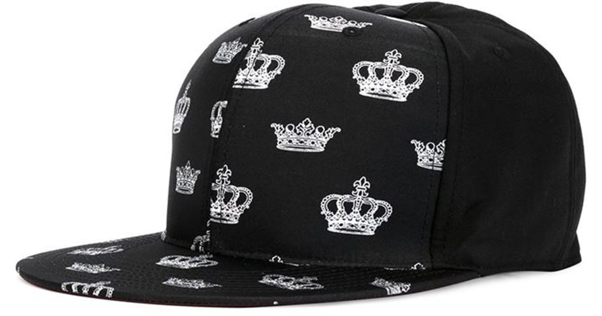5f26241fcb51e1 Dolce & Gabbana Crown Print Cap in Black for Men - Lyst