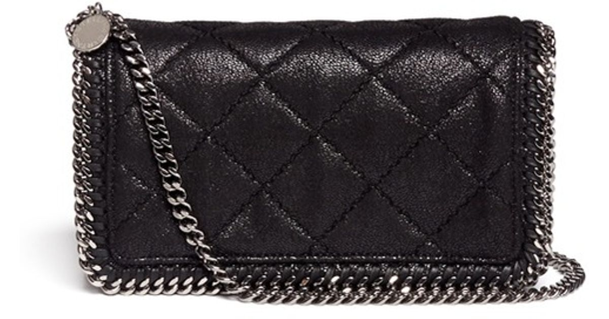 Lyst - Stella McCartney  falabella  Quilted Crossbody Chain Bag in Black f7e840babede8