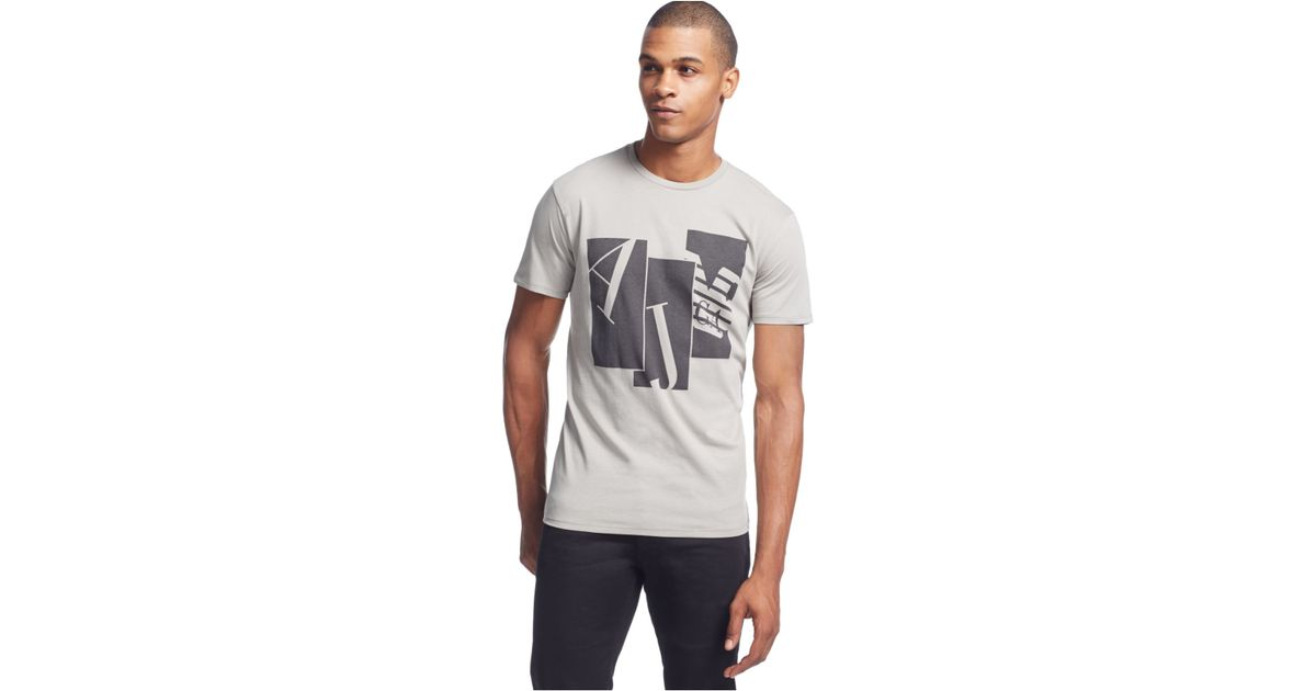 Armani jeans eagle block t shirt in silver for men lyst for Silver jeans t shirts