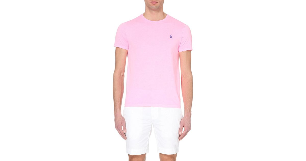 Ralph Lauren Custom-fit Logo Cotton-jersey T-shirt in Pink for Men - Lyst aeed742150d