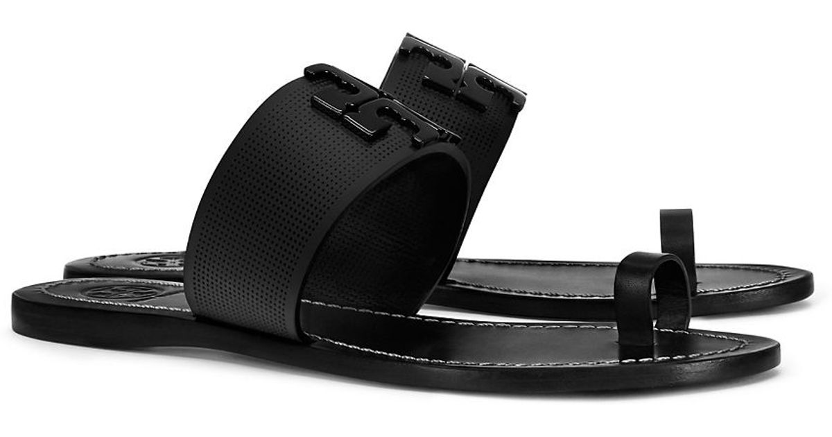 0a125d870 Lyst - Tory Burch Lowell Perforated Toe-ring Slide in Black
