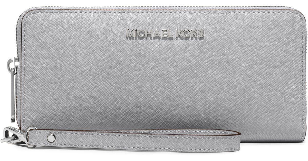 ceed2c4d5758 Michael Kors Jet Set Travel Metallic Leather Continental Wallet ...