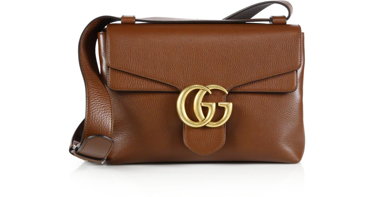 ab4f87c7e0a Lyst - Gucci GG Marmont Leather Shoulder Bag in Brown