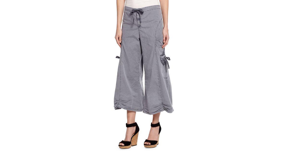 Xcvi Cropped Poplin Cargo Gaucho Pants in Gray (AGSEA) | Lyst