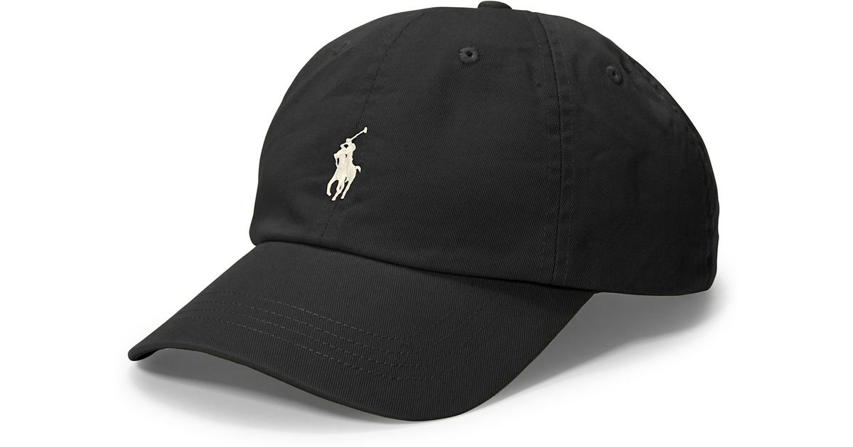 Lyst Polo Ralph Lauren Script Chino Baseball Cap In Black For Men eadd4bd57dbd