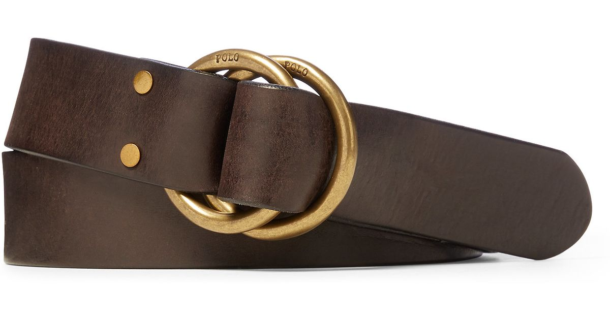 polo ralph tanned leather o ring belt in brown for