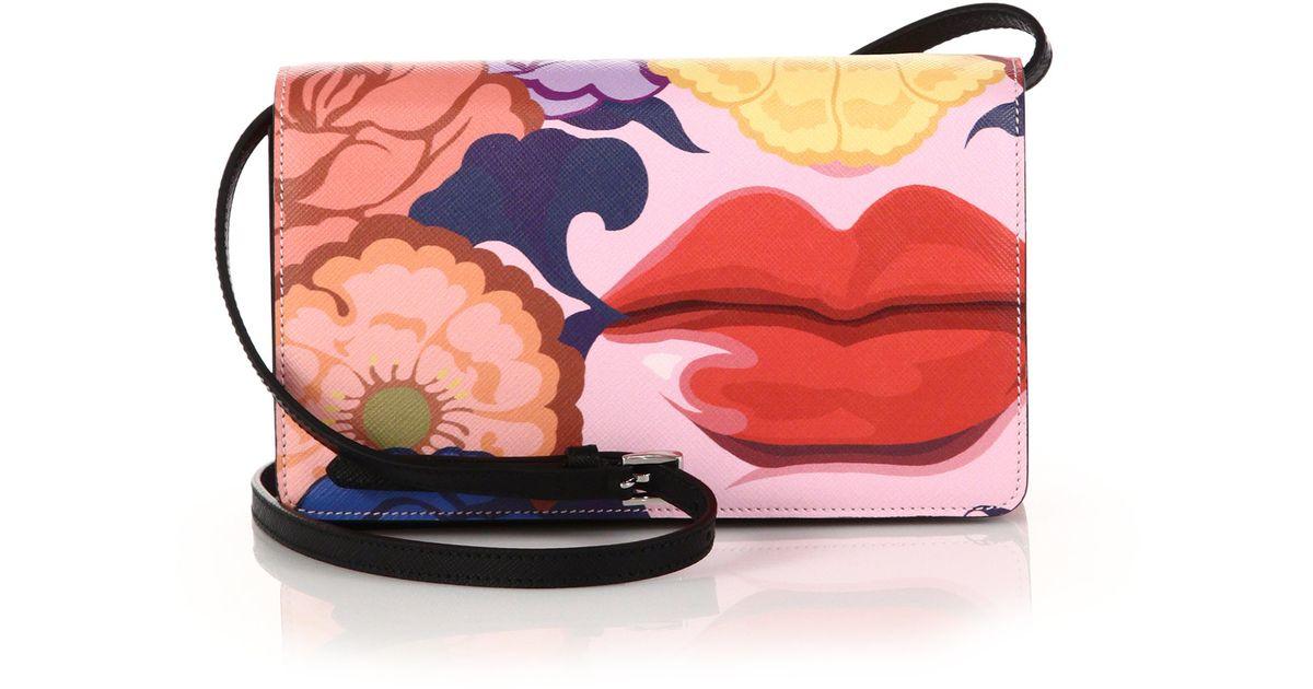 2b925fd72b64c7 Prada Saffiano Lips-print Crossbody Bag - Lyst