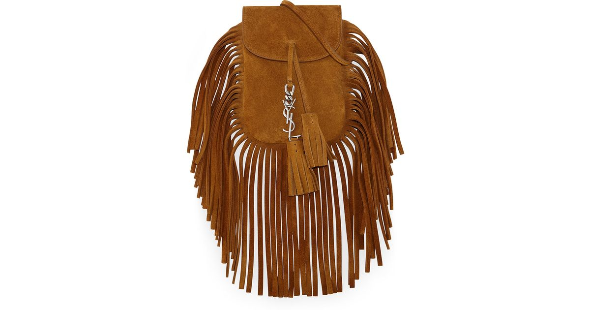 11bed427a548 Lyst - Saint Laurent Anita Mini Fringed Suede Cross-Body Bag in Brown