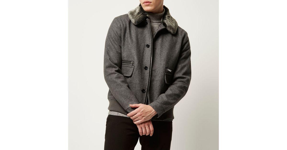 River Island Grey Faux Suede Fur Collar