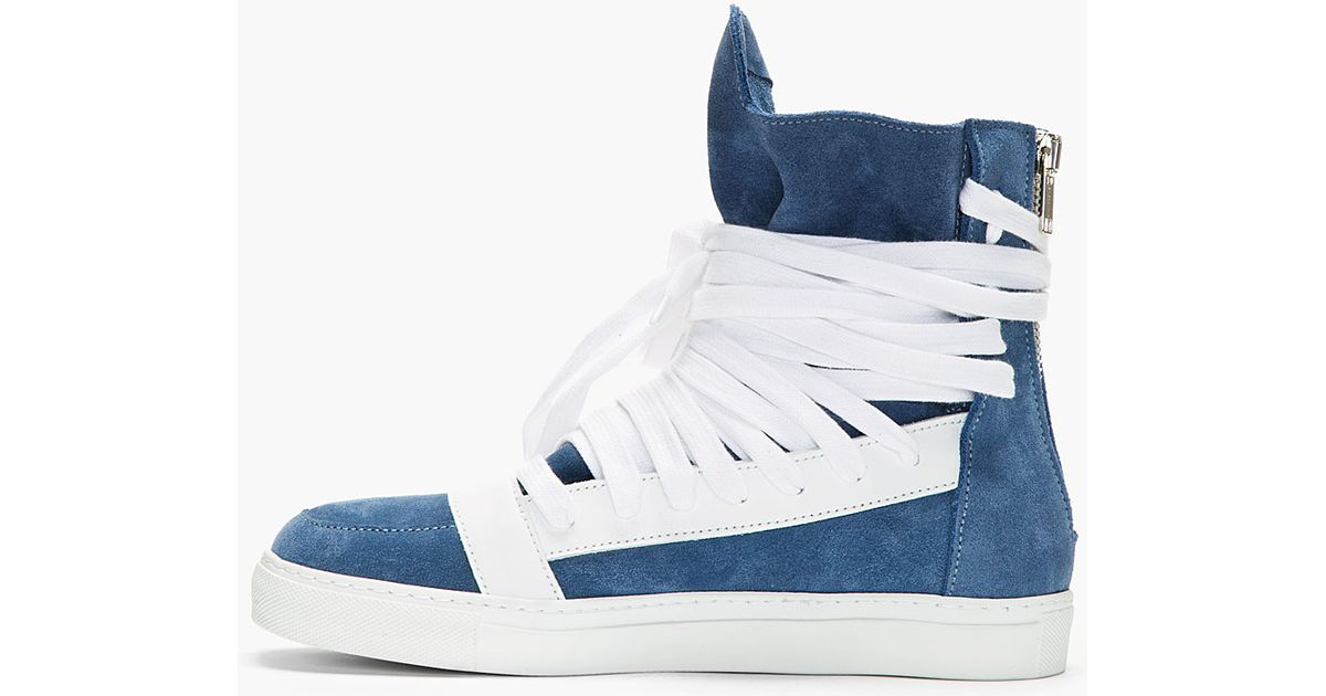 d61c21571357ae Lyst - Kris Van Assche Steel Blue Overlaced High-top Sneakers in Blue for  Men