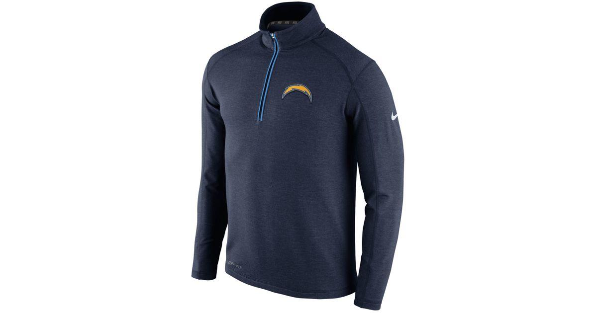 Nike Men S San Diego Chargers Half Zip Dri Fit Jacket In