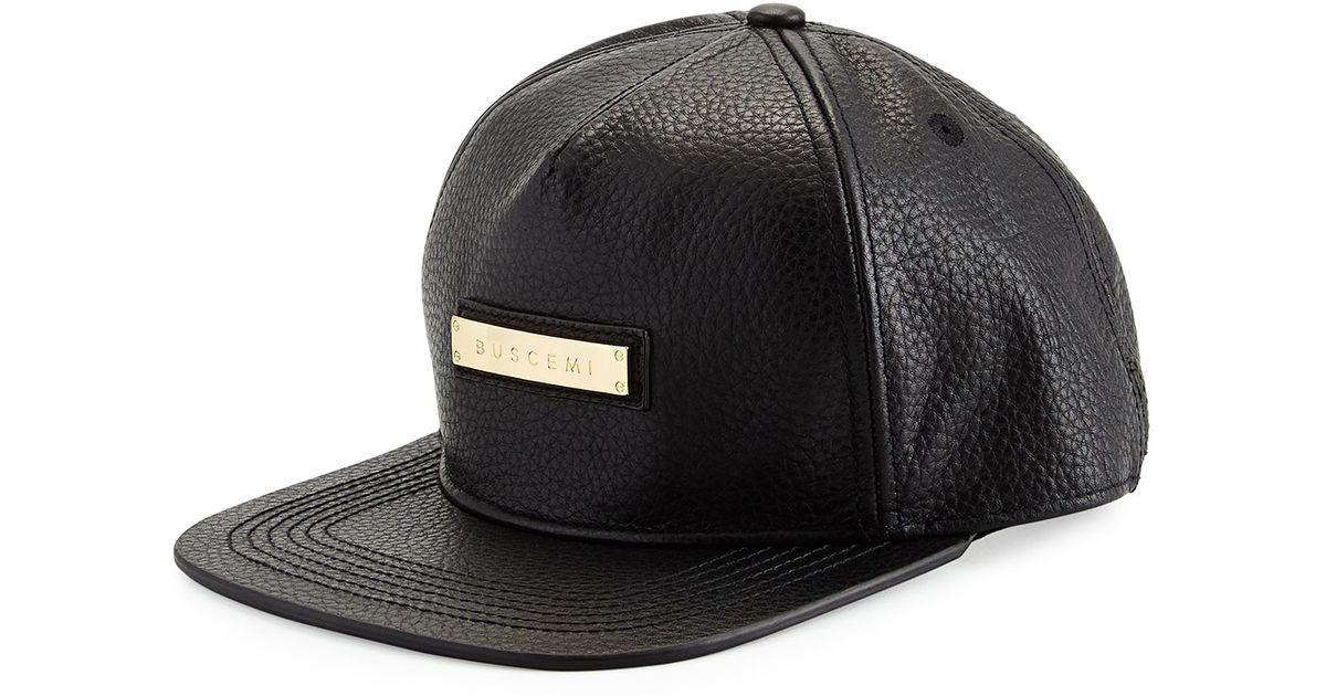 08bcfb6fd6c Lyst - Buscemi Leather Screwback Cap in Black for Men