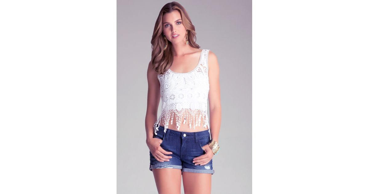 Bebe Crochet Fringe Top In White Lyst