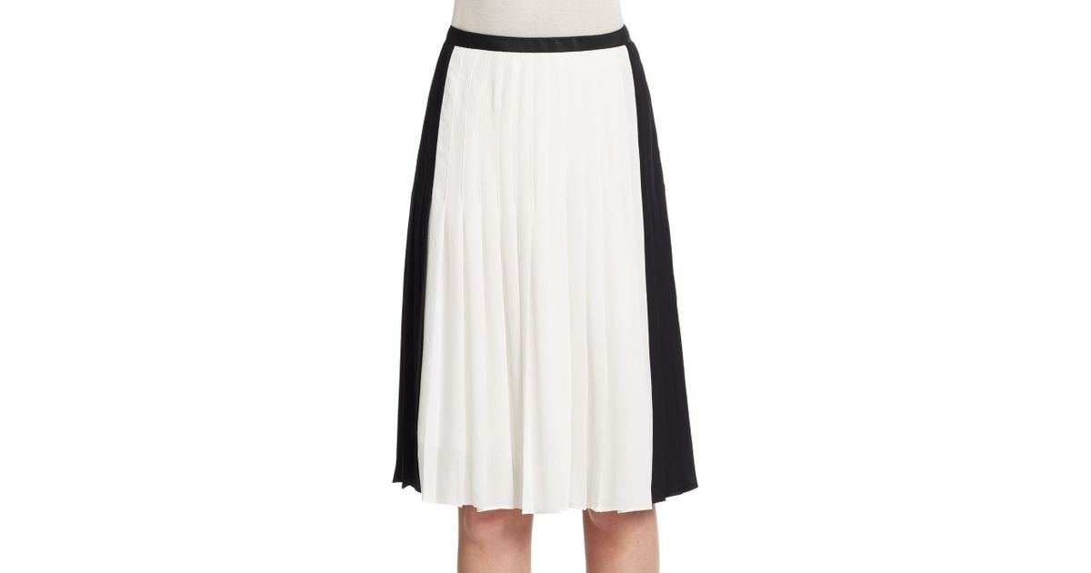 vince two tone pleated skirt in white lyst