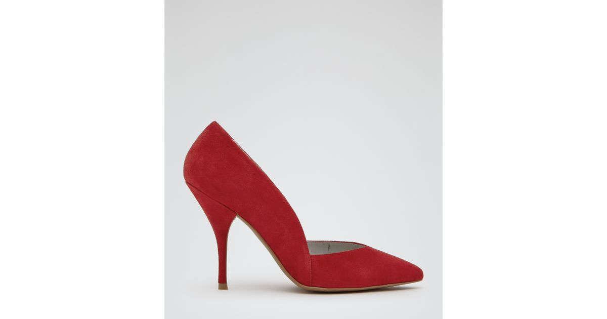 ac290b53afc99c Lyst - Reiss Arya Suede Court Shoes in Red