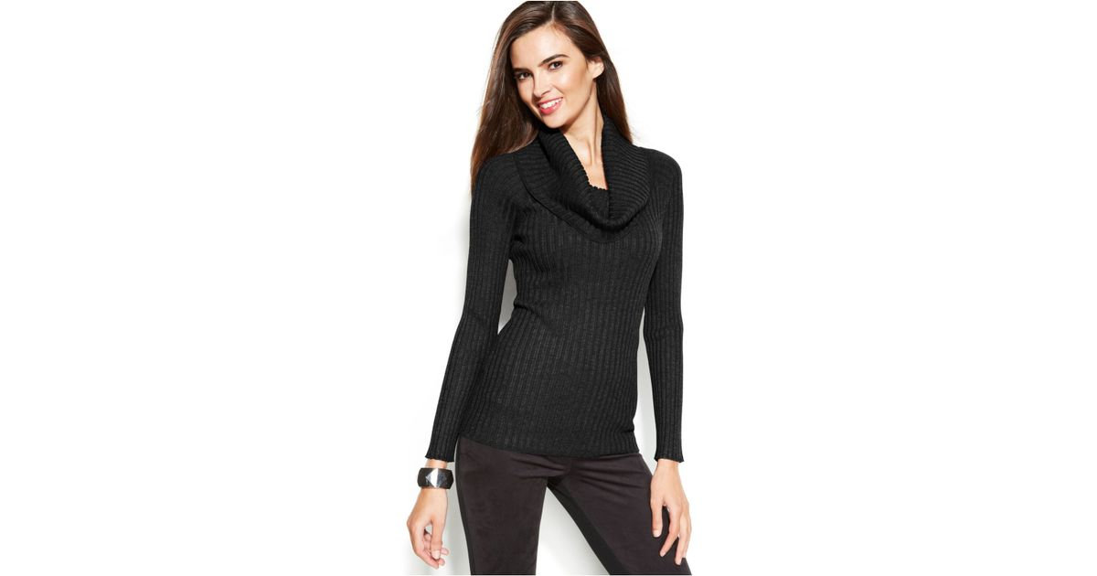 3bf1653e8c1 INC International Concepts Ribbed-Knit Cowl-Neck Sweater in Black - Lyst