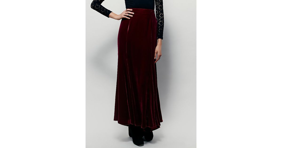 a46fd08c210 Lyst - Free People Fp X Curtain Call Velvet Maxi Skirt in Red