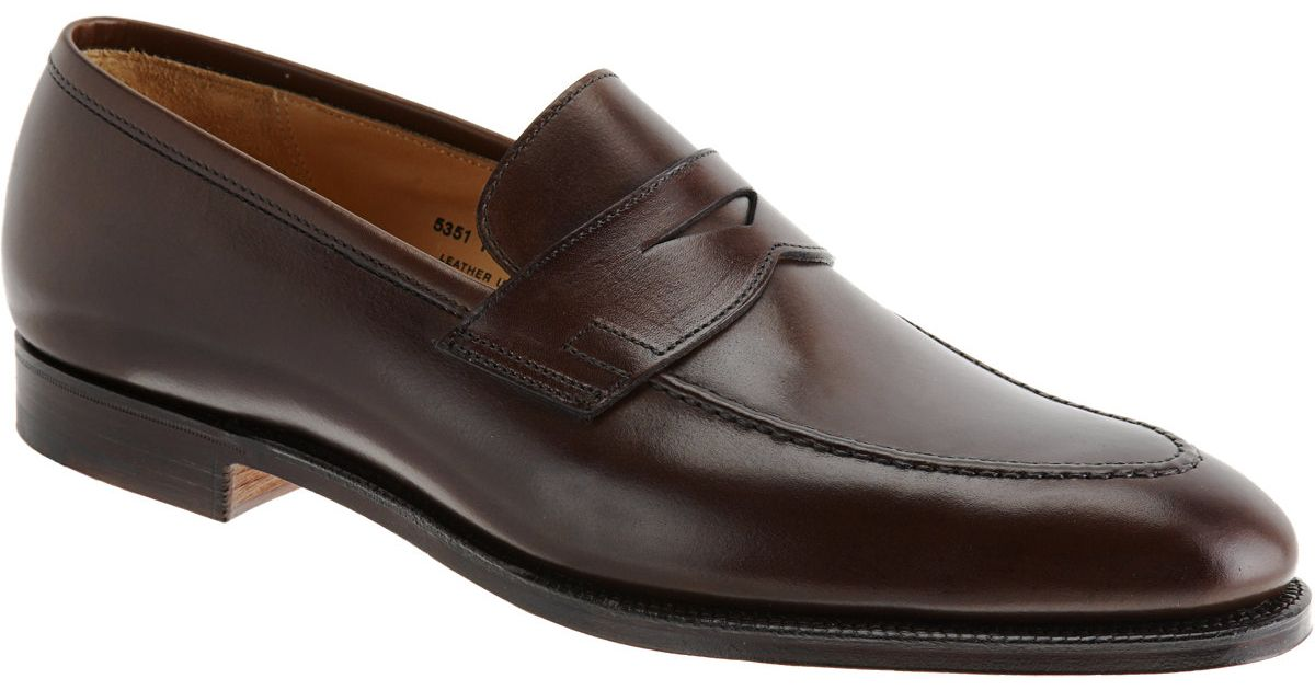 8cb9c0b110f Lyst - Crockett and Jones Sydney Leather Penny Loafers in Brown for Men