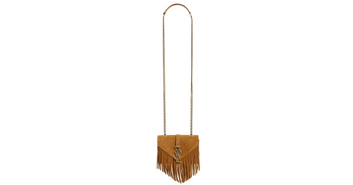 ysl chyc cabas red - monogram small fringe crossbody bag, black