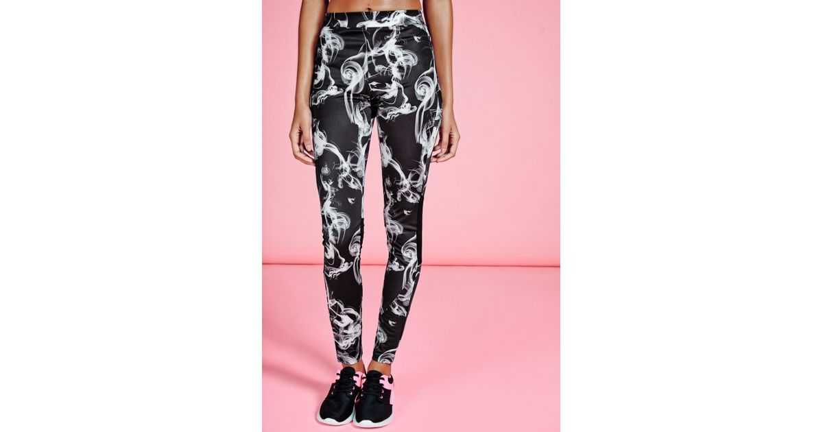 061d4ea99f1a1 Lyst - Missguided Active Printed Mesh Insert Full Length Leggings Black in  Black