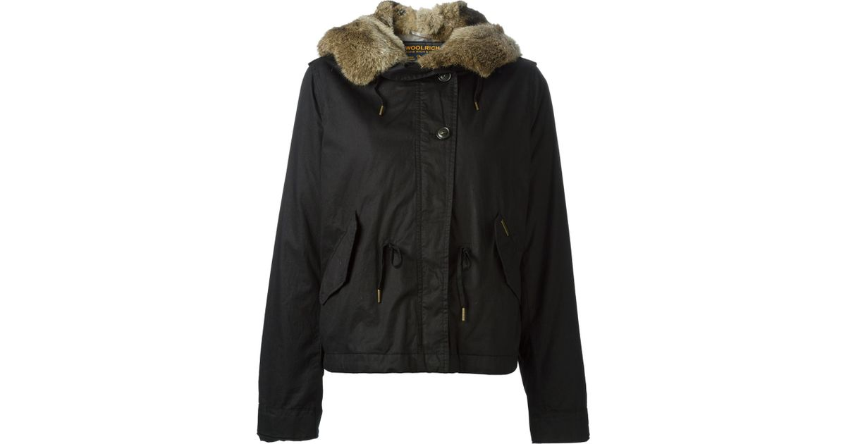 Woolrich Fur Lined Short Parka in Black | Lyst
