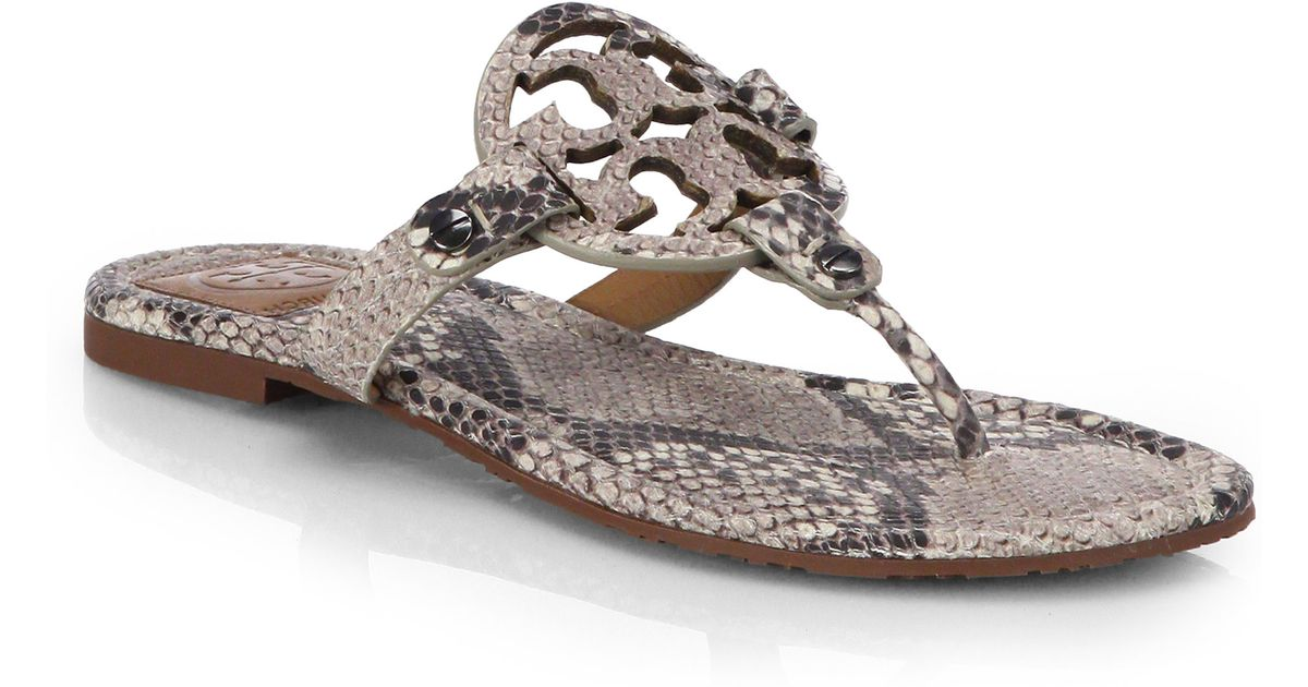 e880b957fd5902 Lyst - Tory Burch Miller Snake-Effect Leather Sandals in Natural