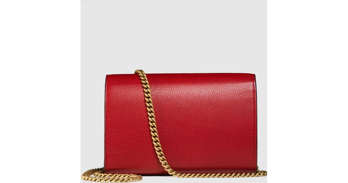 27410ed480074c Gucci Gg Marmont Leather Chain Wallet in Red - Lyst