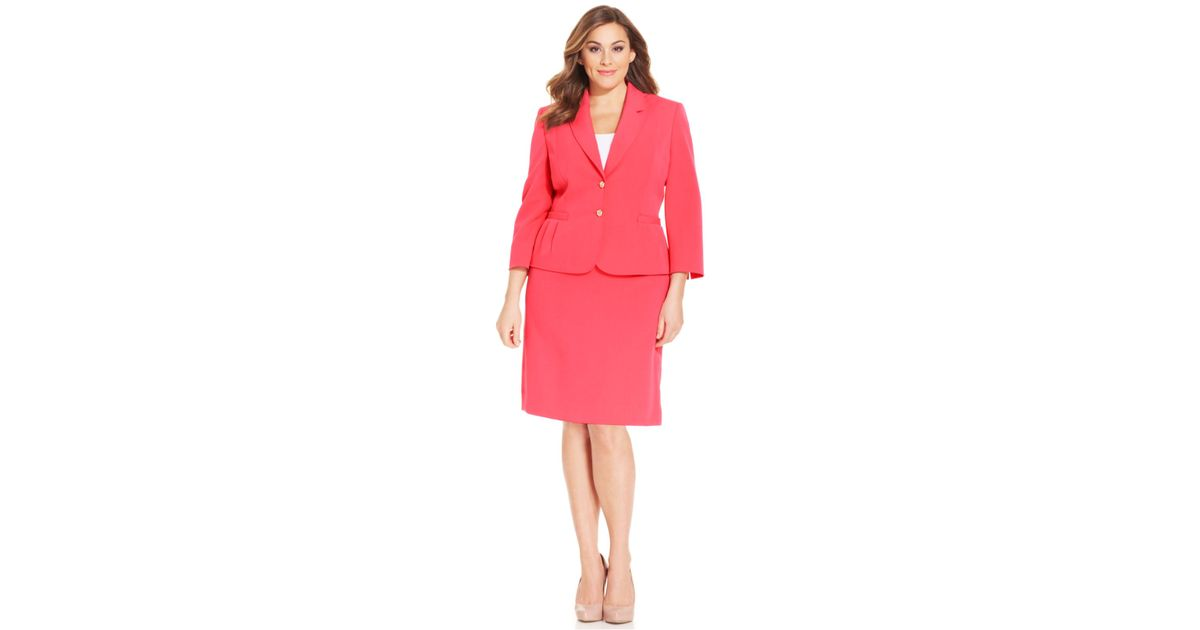 b1beabde1ba0 Lyst - Tahari Plus Size Two-Button Crepe Skirt Suit in Pink