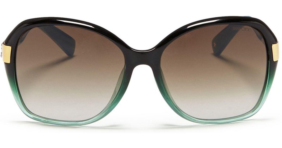 b454f4a5665c Lyst - Jimmy Choo  alana  Crystal Temple Ombré Acetate Sunglasses in Green