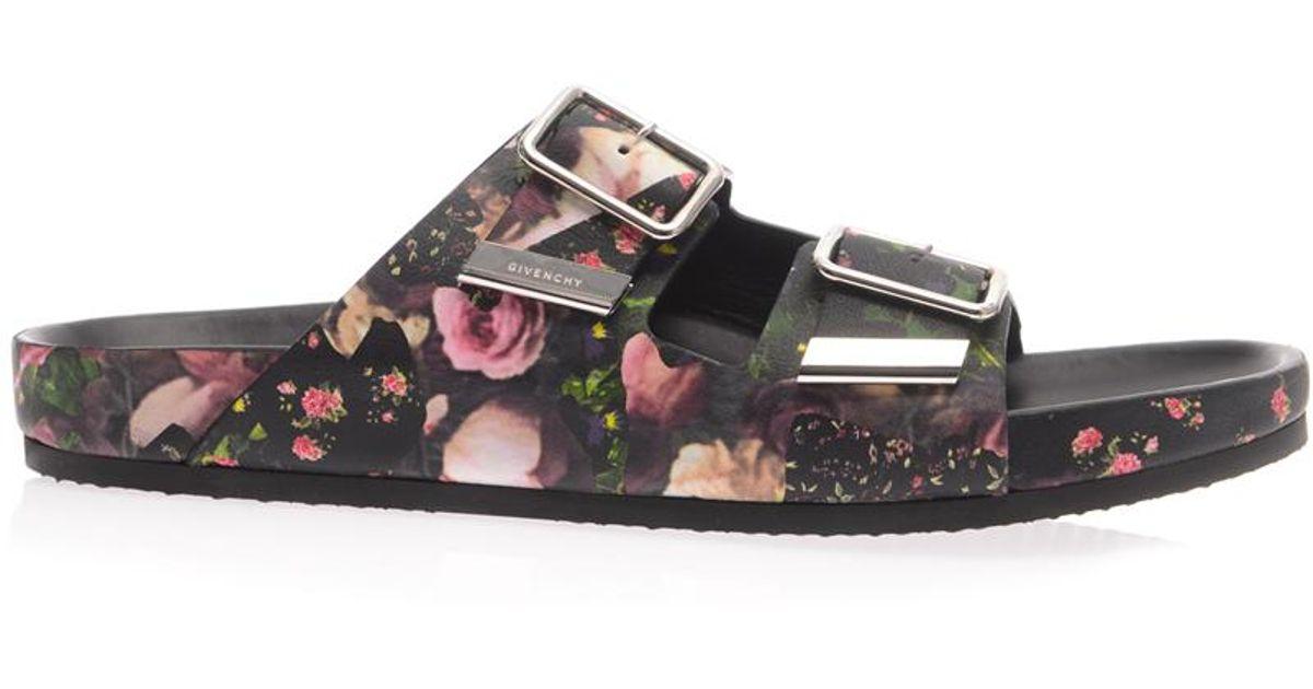 lyst givenchy floral camouflageprint slides in black for men