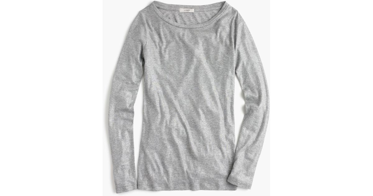 Metallic perfect fit t shirt in metallic lyst for Silver jeans t shirts