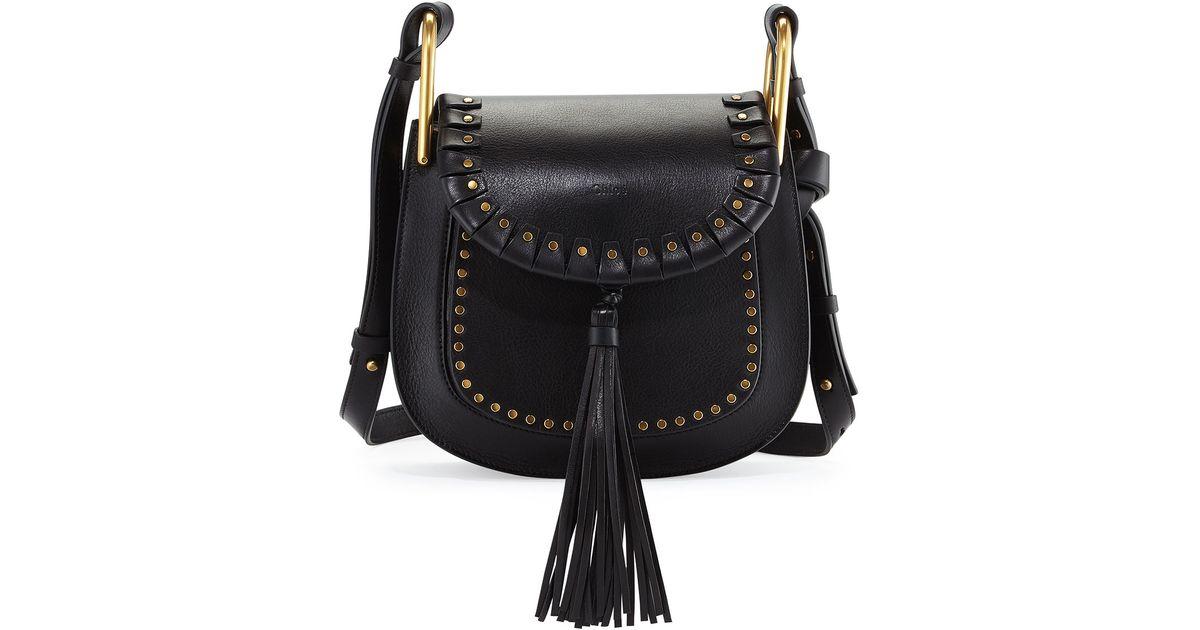d4aaac3df6dd Lyst - Chloé Hudson Large Studded Leather Saddle Bag in Black