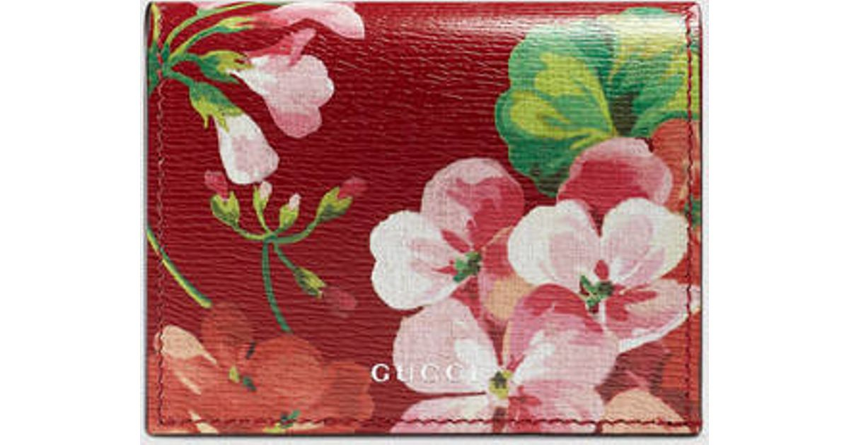 6ac5287cfa5979 Gucci Blooms Leather Card Case in Red - Lyst