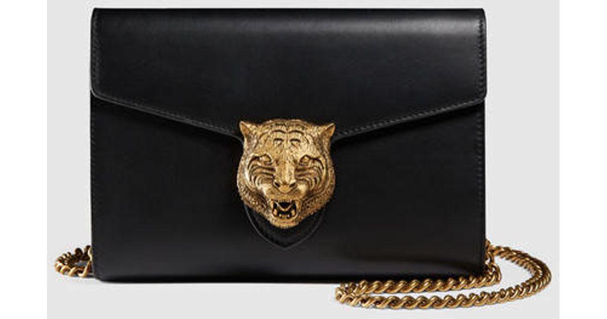 0f1d2d96245cc8 Gucci Animalier Leather Chain Mini Bag in Black - Lyst