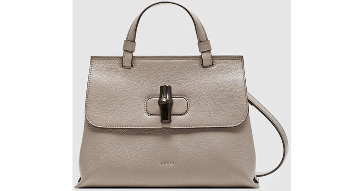 ef65bbfe8c01 Lyst - Gucci Bamboo Daily Leather Top Handle Bag in Gray