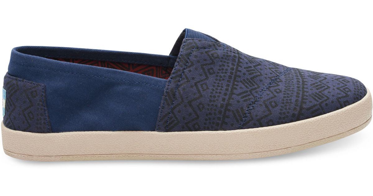Lyst - TOMS Navy Printed Twill Men s Avalon Slip-ons in Blue for Men a50ae9bf72