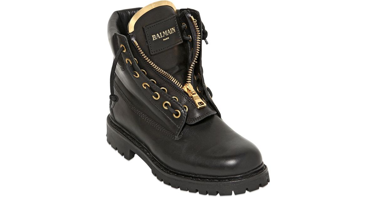 0d9a7eb453d Balmain 20mm Taiga Leather Boots in Black for Men - Lyst