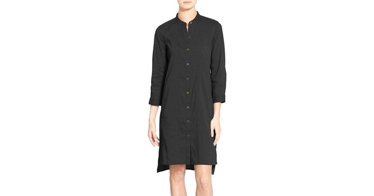 11e9c2b4 Eileen Fisher Organic Linen Blend Mandarin Collar Shirtdress in Black - Lyst