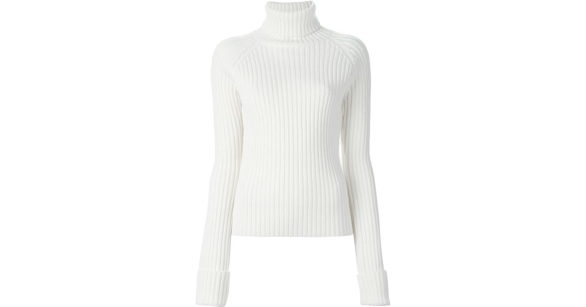 Joseph Ribbed Turtleneck Sweater in White | Lyst