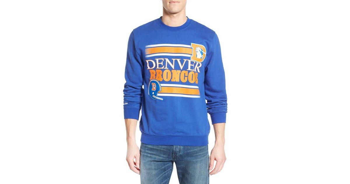 quality design 70071 aaee3 Mitchell & Ness - Blue 'denver Broncos' Tailored Fit Fleece Crewneck  Sweatshirt for Men - Lyst