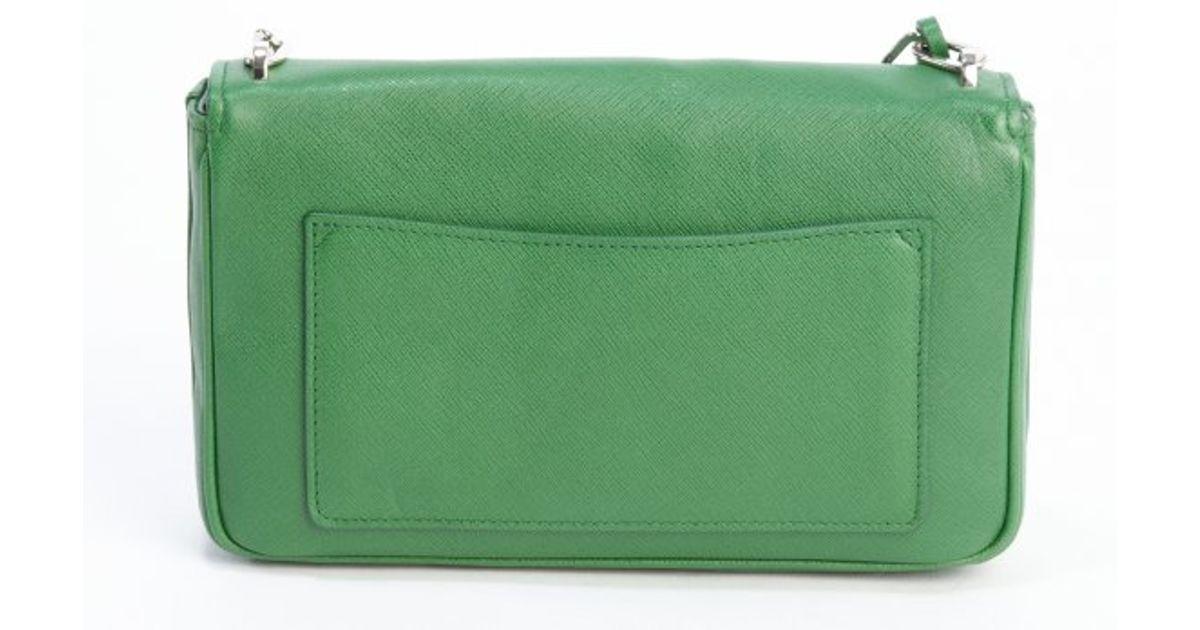 prada burgundy handbag - Prada Green Saffiano Leather Chainlink Shoulder Bag in Green | Lyst