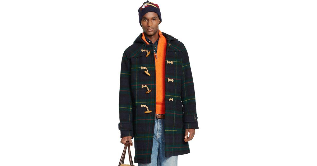 Polo ralph lauren Tartan Hooded Wool Toggle Coat in Black for Men ...