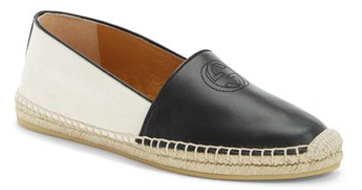 8238203484b Lyst - Gucci  pilar  Espadrille Flat in Black