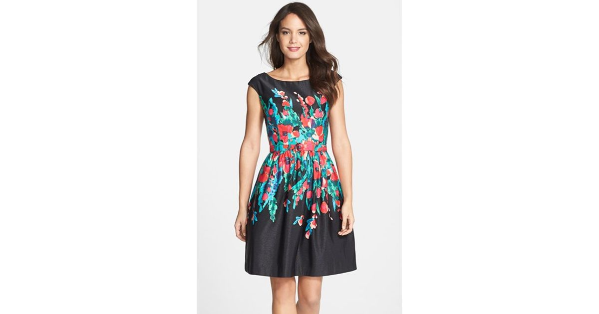 Lyst - Eliza J Floral Print Faille Fit & Flare Dress in Black